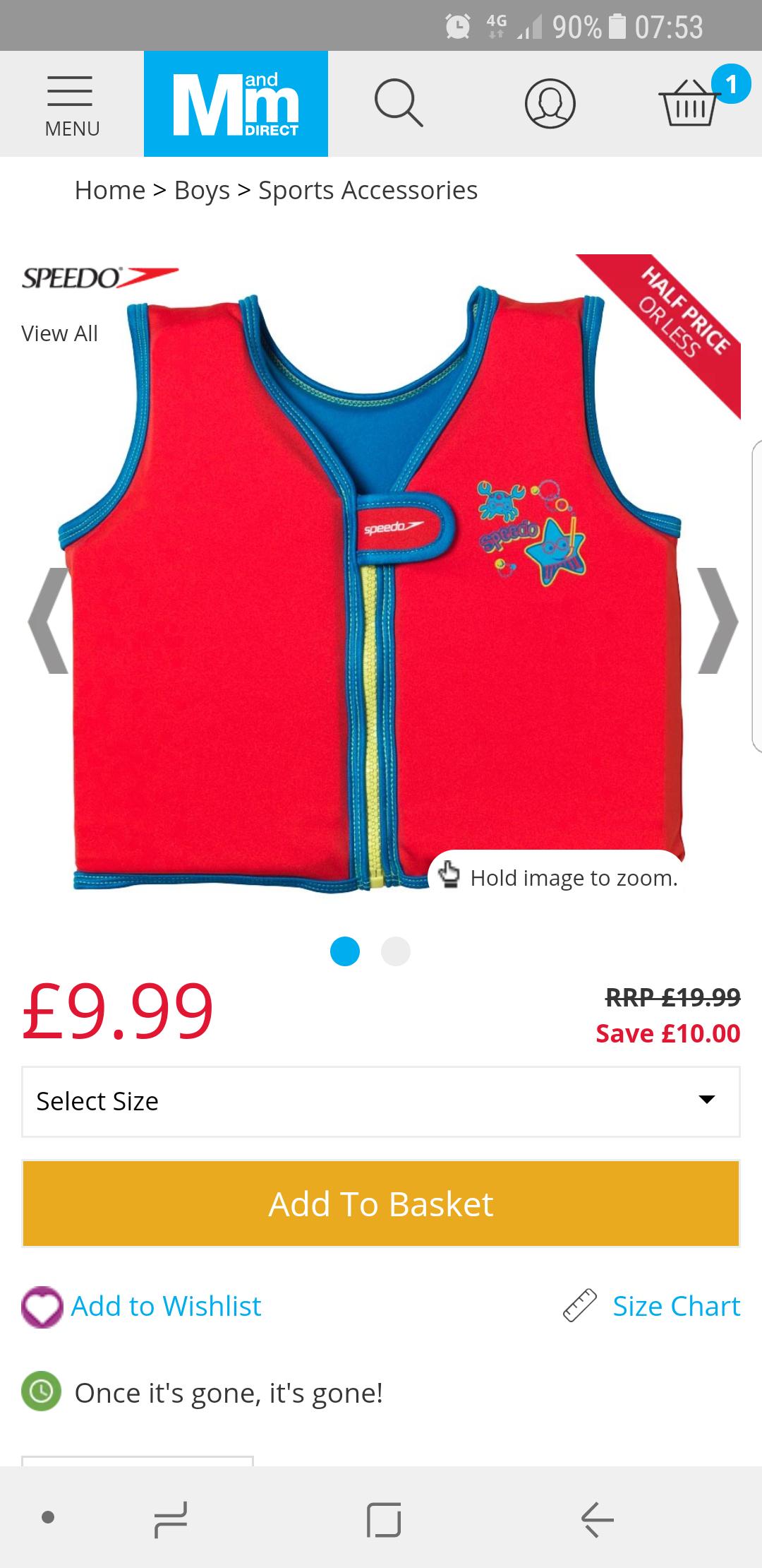 Speedo Sea Squad Float Vest Red/Blue £9.99 + £4.49 Del @ MandM Direct