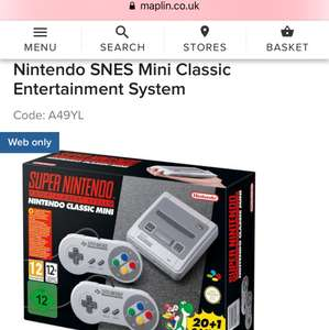 Nintendo SNES Mini Classic Entertainment System £89.99 @ Maplin