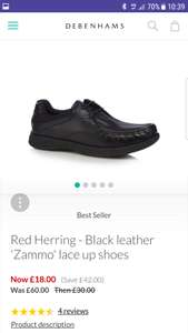 Red Herring-Black leather 'Zammo' lace up shoes.  Use code Sh4h for free delivery. - £18 @ Debenhams