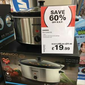 Daewoo 6.5L Slow Cooker £19.99 @ Robert Dyas (instore or free C&C)
