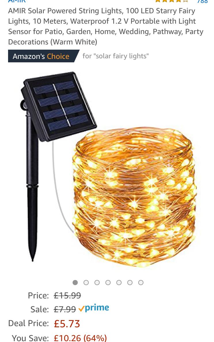 AMIR Solar Powered String Lights, 100 LED Starry Fairy Lights, Lightning deal £5.73 Prime / £9.72 Non Prime - Amazom