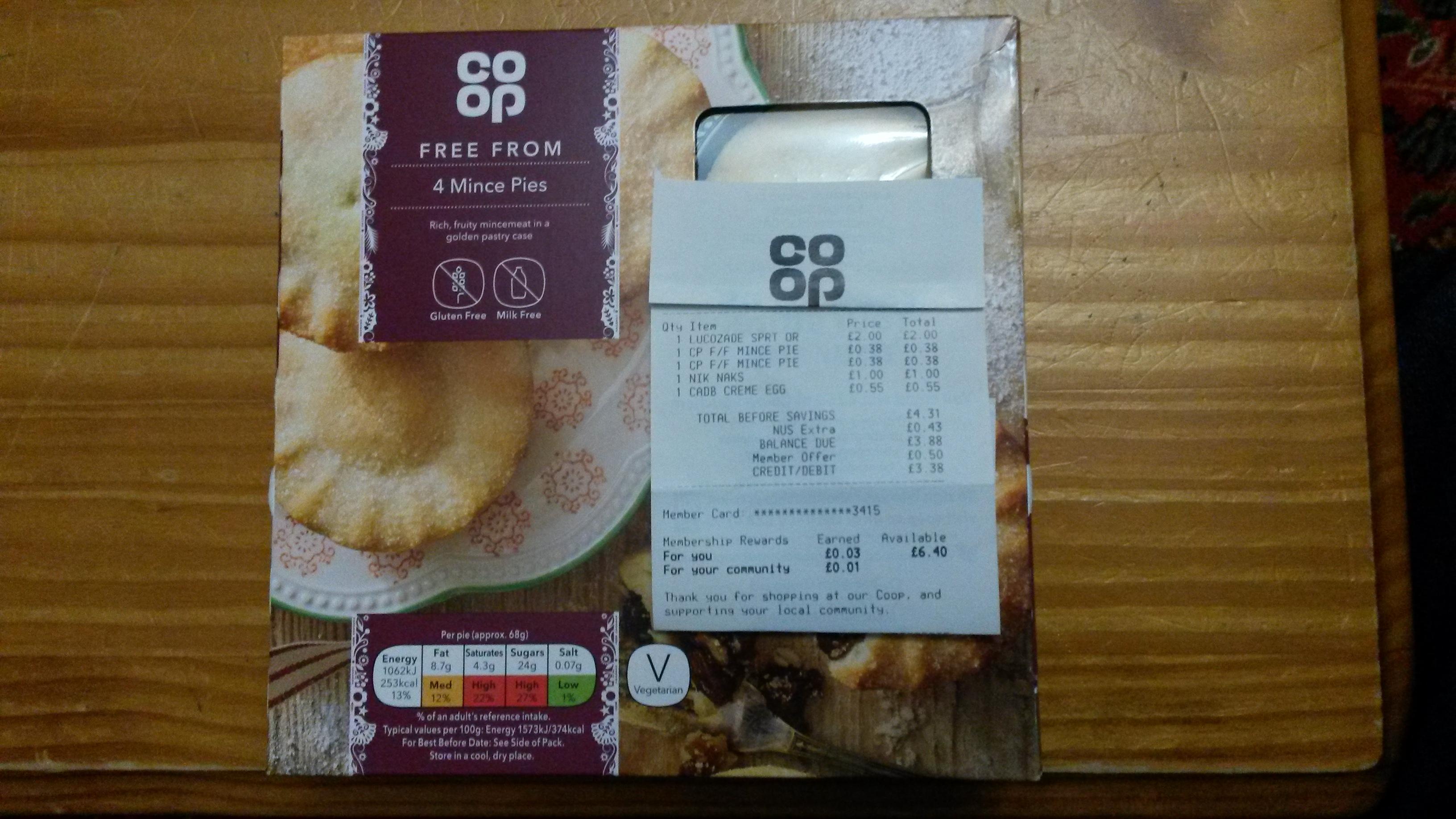 4 Mince Pies Gluten Free Milk Free 38p @ Co-op