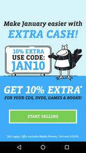 Get an extra 10% on anything you sell to them in January 2018, with code: JAN10, at Music Magpie