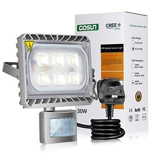 Gosun LED Motion Sensor Flood Light , 30W Outdoor IP65 £17.98 Prime / £22.73 Non Prime @ Amazon
