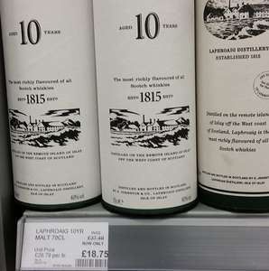 Laphroaig  Whisky 70cl  £18.75 instore Coop - Hendricks Gin, Russian Std Vodka also reduced