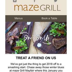 Maze Grill Mayfair London - BOGOF on 2 courses for £20 or 3 for 24