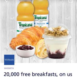 WHSMITH 20,000 free breakfasts available travel stores only O2 Priority from 7am to 11am