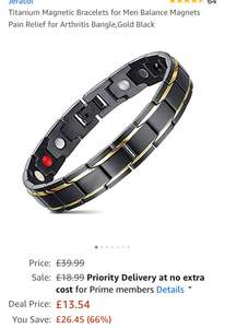Mens Titanium Magnetic Bracelet £13.54 (Prime) £17.53 (Non Prime) (lightning deal) @ Sold by Jeracol Direct and Fulfilled by Amazon.