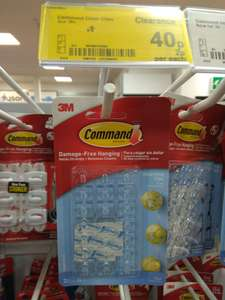 3m Command clear hanging clips 20 pack was £1 now 40p @ Asda living