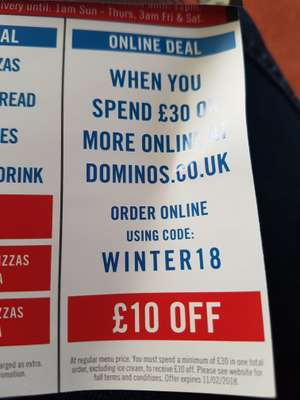 £10 off £30 spend @ Dominoes