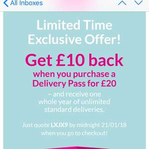 Very £10 back when you buy a Year delivery pass for £20