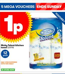 12 pack of Nicky Kitchen rolls just 1p at JTF (minimum spend £5)