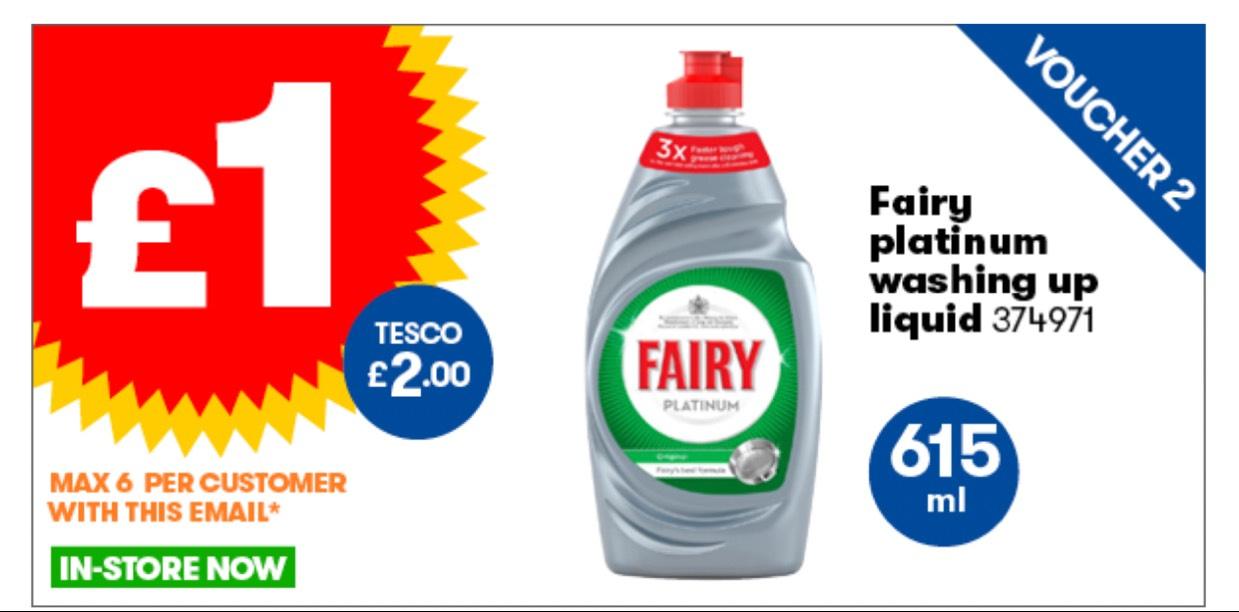 Fairy Platinum Washing up Liquid 615ml @ JTF - £1