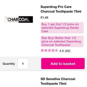 Superdrug - Charcoal Whitening Toothpaste £1.45 each or buy one get one half price