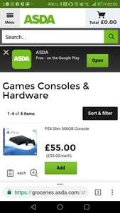 Asda PS4 coming online up at £55
