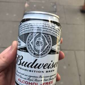 Free can of Budweiser alcohol-free outside oxford circus station