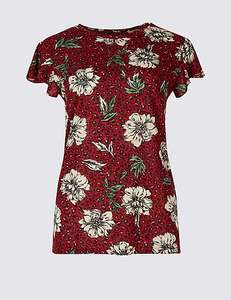 Floral animal print frill sleeve T-shirt size 6 & 14 only WAS £17.50 NOW £3.79 free c+c @ M&S