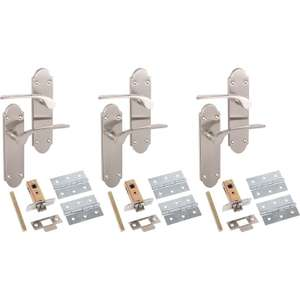 Internal Door Handle Latch Set 3pk Satin Nickel reduced from £24.98 to £13.34 @ Tool Station