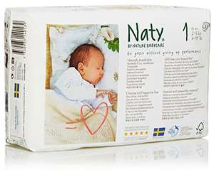 Naty by Nature Babycare Newborn ECO Nappies - Size 1, 2 x Packs of 26 (52 Nappies) £5.32 - Amazon Prime Exclusive