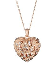 Fiorelli Rose Gold Colour Filigree Heart Necklace with Clear Crystals £10 / Fiorelli Rose Gold Filigree Heart Drop Earrings £9 @ Very (Free C&C)