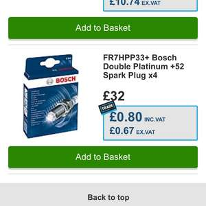Bosch Spark plugs 80p with trade card! Should be £32! - Halfords