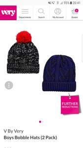 Pack of 2 boys cozy hats 4-7yrs or 8-14yrs @very - £4.80 (free C&C)