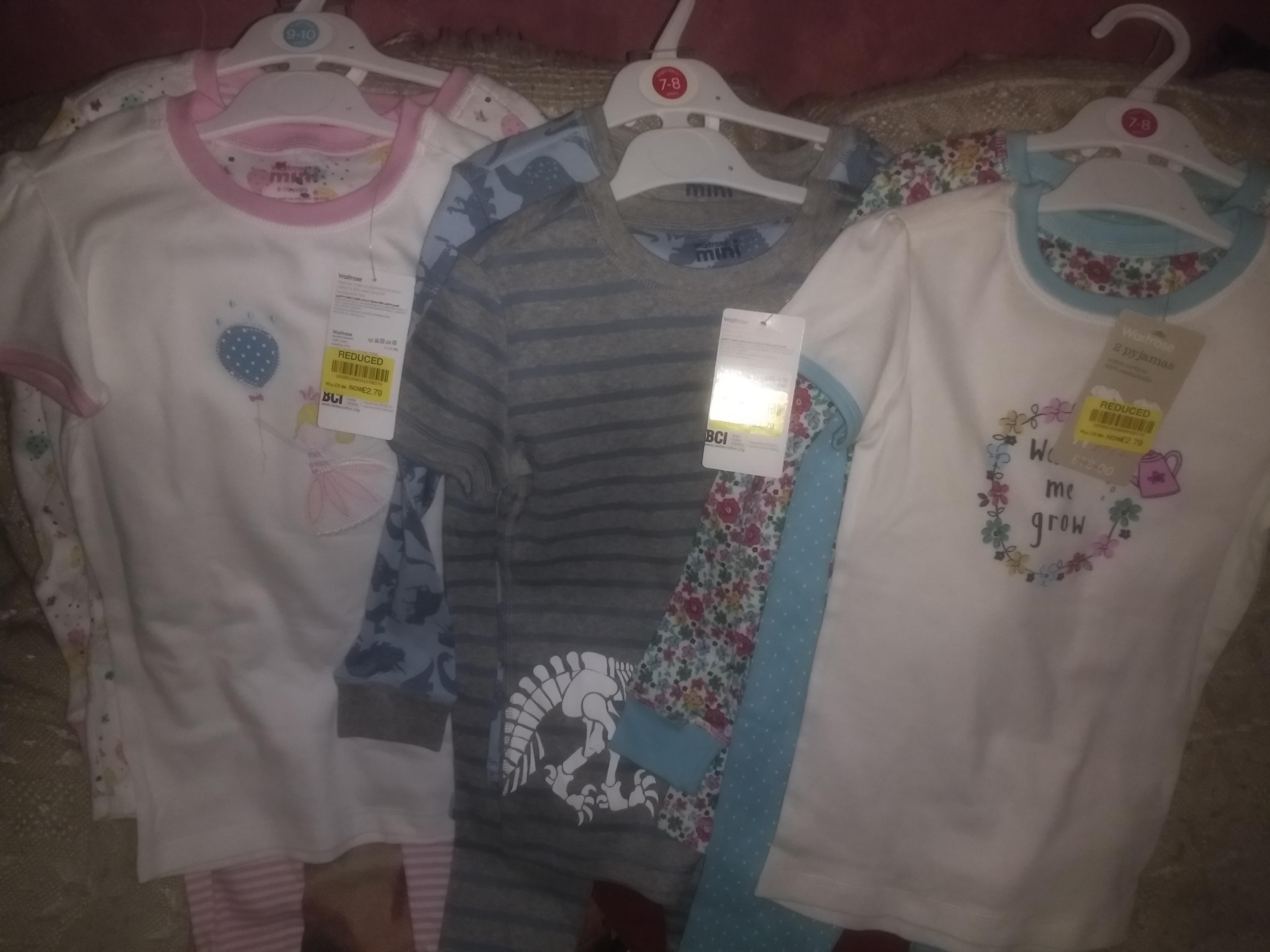 Children's clothing sale Waitrose - PJs reduced from £18 ro £2.79 - seen instore @ Sudbury
