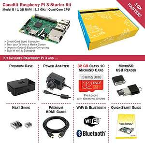 Raspberry Pi 3 Kit including 32Gb micro SD Card  reduced to £54.99 Sold by CanaKit UK and Fulfilled by Amazon