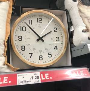 Asda Home wooden wall clock reduced to £1.20 INSTORE