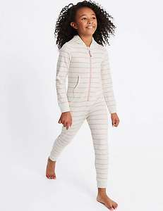 Cotton Rich Striped Hooded Onesie 7 -14yrs now £2.89 - £4.89 C+C @ M&S