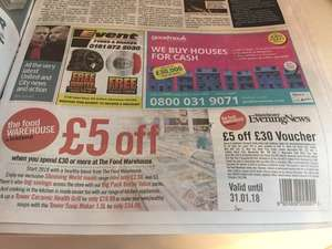 £5 off a £30 spend at Iceland food warehouse from the Manchester Evening News dated 17th Jan.