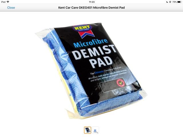 Kent Car Care GKEG401 Microfibre Demist Pad 99p (Prime) / £4.98 (non Prime) at Amazon