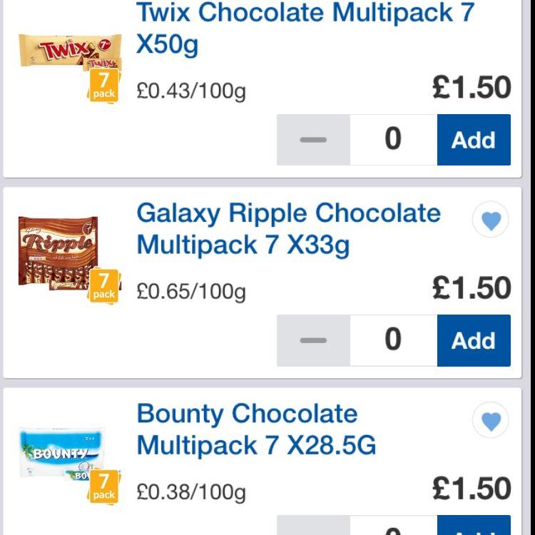 7 Pack Choc Bars £1.50 at Tesco