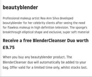 Free BeautyCleanser Duo with beautyblender purchase for £16 (free delivery) at Beauty Bay