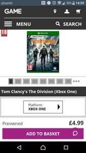 Tom Clancy's The Division (Xbox One) Preowned at Game for £4.99