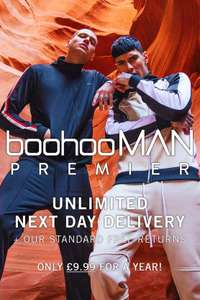 BOOHOOMAN PREMIER - UNLIMITED NEXT DAY DELIVERY 12 MONTHS £9.99
