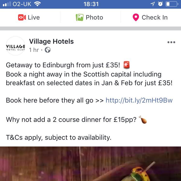 Village hotels Edinburgh breaks £35 including breakfast for 2