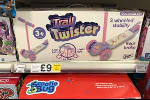 Ozzbozz 3 wheel twister trail scooter was originally £25 then £18 and now £9 at Tesco barcode 5021813139737