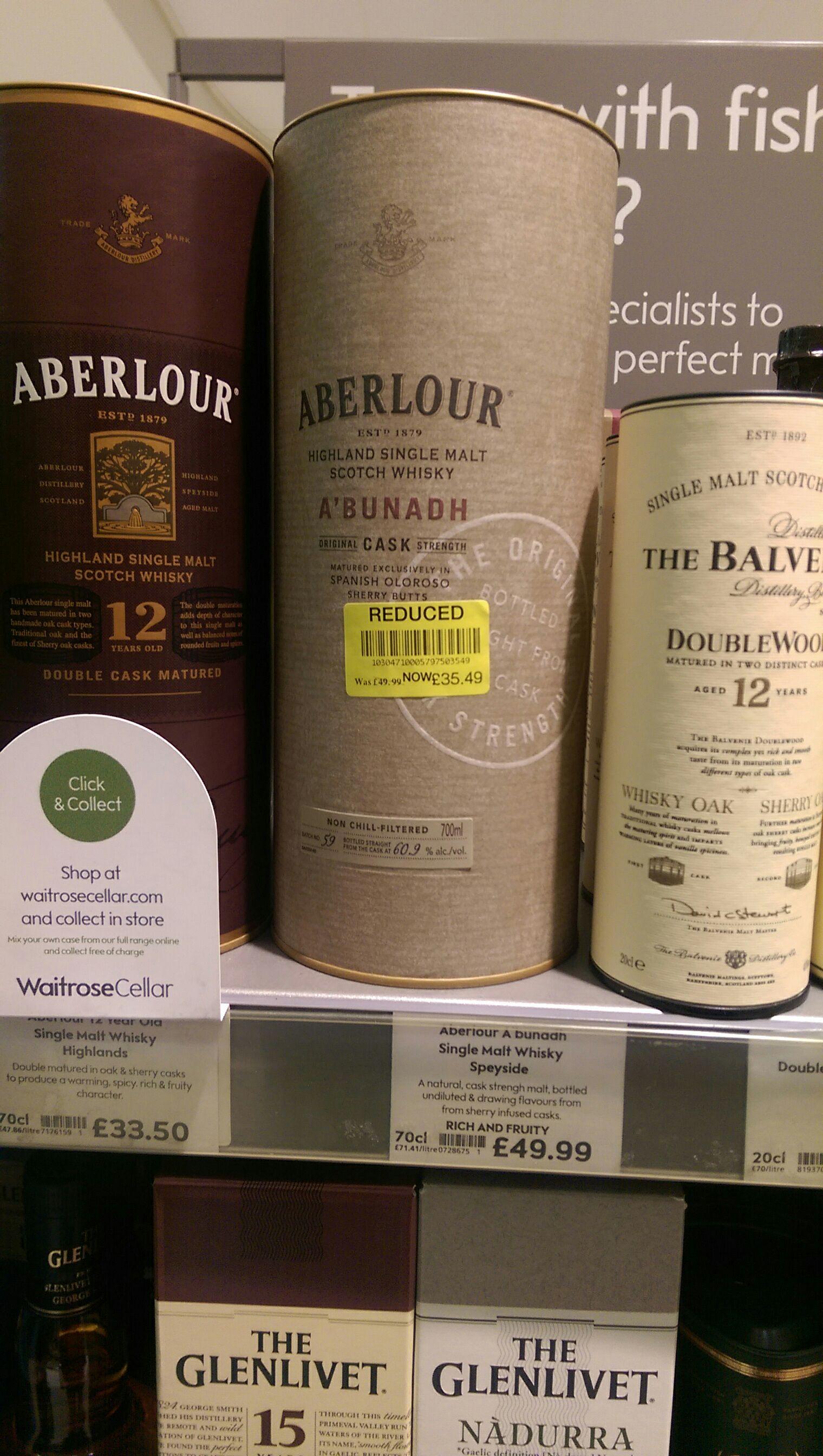 Aberlour A'bunadh Single Malt Scotch Whisky £35.49 was £49.99 at Waitrose Poynton + other drinks