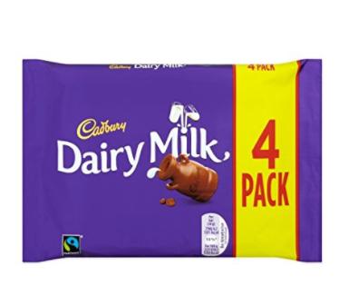 Cadbury Dairy Milk Chocolate Bar, 4 x 36g £0.75 (£5.21 / kg) @ Amazon - Prime Exclusive / Pantry
