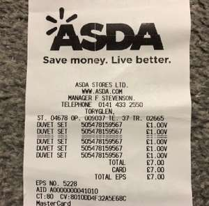 Asda Duvet Sets was £10 now reduces to clear for £1