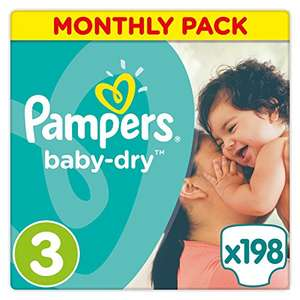 Pampers Baby-Dry 198 Nappies with 3 Absorbing Channels, 5 - 9 kg, Size 3 - £13.96(7p each) @ Amazon - Prime Exclusive