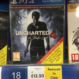 Uncharted 4 PS4 £12.50 instore at Tesco Bellshill