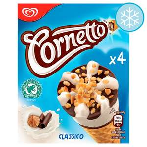 2 packs Cornetto  for £2 -  Classico , Strawberry or Mint Ice Cream Cone 4 X 90ml (get this 1 pack for £2.20 or 2 packs for £2) @ Tesco