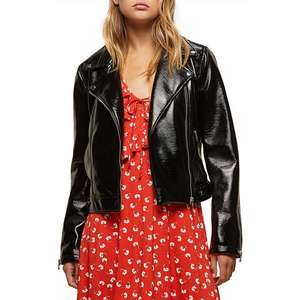 John Lewis Miss Selfridge Vinyl Biker Jacket, Black £10 (+ £2 c&c or £3.50 deliverered)