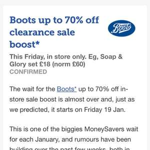BOOTS 70% off sale now confirmed- FRIDAY 19th Jan