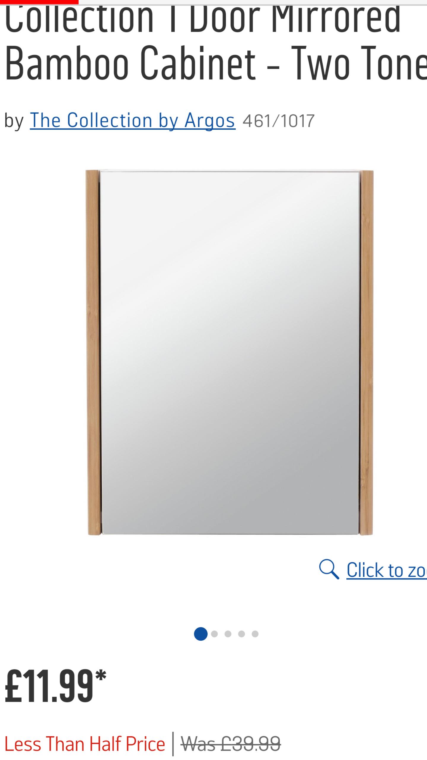 Argos Mirrored cabinet £39.99 to £11.99