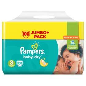 Pampers Baby-Dry Size 3 100 Nappies (Jumbo size) £7 at Asda
