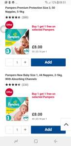 Buy one get one free on selected pampers essentials nappies at Boots
