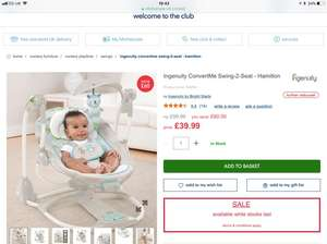 Ingenuity convert me swing to seat mothercare in store 39.99